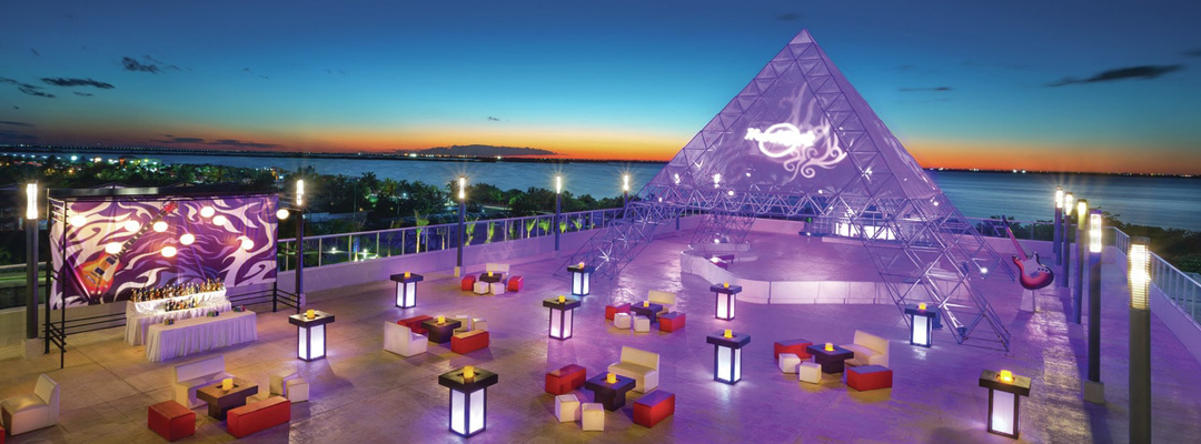 Hard Rock Cuncun Roof Top Night Party Area